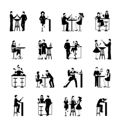 Drinking people set black and white vector