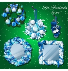 Christmas decoration mirror and a wreath mittens vector