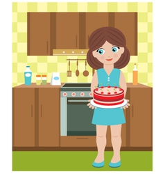 Young woman with a pie vector