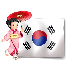 A South Korean girl beside their flag vector image vector image