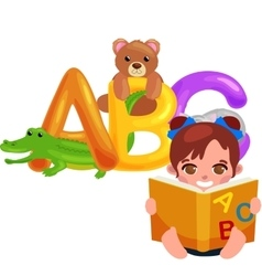 Abc animal letters for school or kindergarten vector image vector image