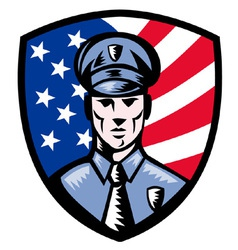 american police officer shield vector image vector image