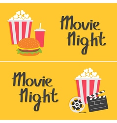 Banner set Movie reel Open clapper board Popcorn vector image