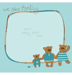 Bear family photo frame vector