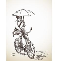 bicyclist with umbrella vector image vector image