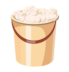 Bucket with foamy water icon cartoon style vector