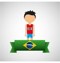 cartoon athletics player brazilian label vector image vector image