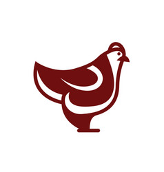 chicken icon linear flat style vector image vector image