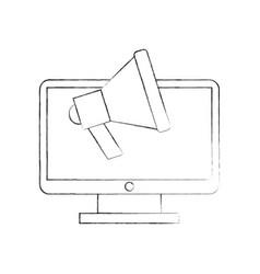 computer desktop with megaphone vector image vector image