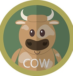Cute brown cow cartoon flat icon avatar round vector image vector image