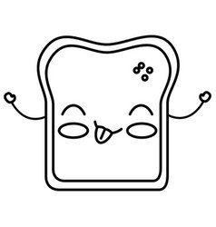 delicious toast bread kawaii character vector image vector image