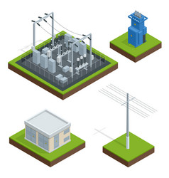 electric energy factory distribution chain vector image vector image