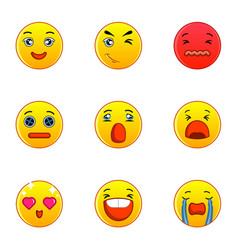 emoticons or smileys icons set flat style vector image vector image