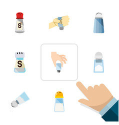 Flat icon salt set of pour condiment sodium and vector