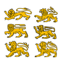 lion heraldic icon set for tattoo heraldry design vector image vector image