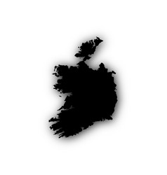 Map of ireland with shadow vector