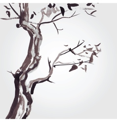 Old tree in Chinese style vector image vector image