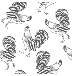 Pattern rooster painted by hand vector