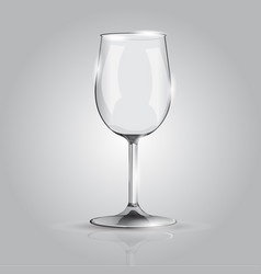 Realistic wineglass on grey background vector
