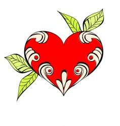 red heart with floral element vector image vector image