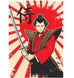 samurai vintage poster vector image vector image