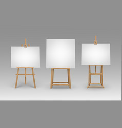 set of brown wooden easels with blank canvases vector image