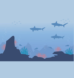 Silhouette of underwater with shark and reef vector