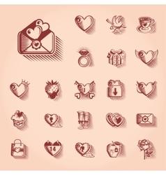 Valentines day retro icon set vector