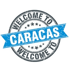 Welcome to caracas blue round vintage stamp vector
