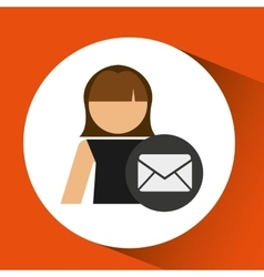 Woman icon with email message envelope vector