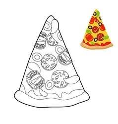 Pizza coloring book delicious slice of pizza in vector