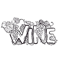 Ink hand drawn wine lettering vector image