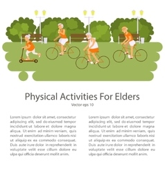 Elderly people on bicycles in different poses vector