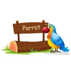 A colorful bird near a signboard vector image