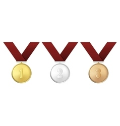 gold silver and bronze award medals with vector image