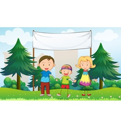 A family at the park with an empty banner vector