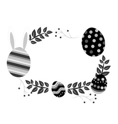 grayscale eggs easter with branches plant vector image