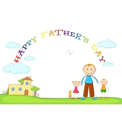 Father with kids in fathers day background vector