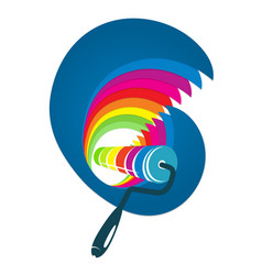 Roller with wave of paint vector