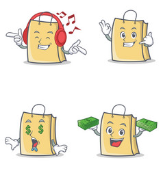 Set of bag character with listening music call me vector