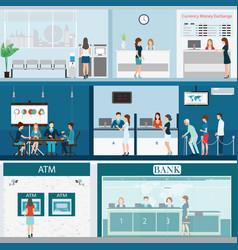 People in a bank interior vector