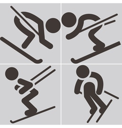 Downhill skiing icons vector