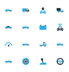 Car colorful icons set collection of gear lever vector