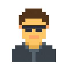 pixel avatar male cartoon retro game style vector image