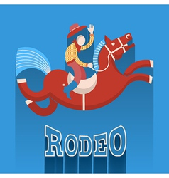Rodeo postercowboy on horse vector