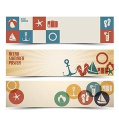 Set of retro summer horizontal banners vector image
