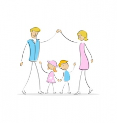 Family forming shape of home vector