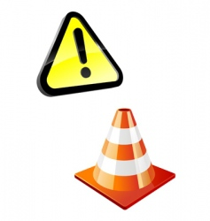 Warning sign and traffic cone vector