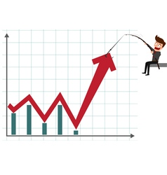 Business man pulling graph to going up growth tren vector