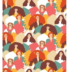 Crowd inspirational muses woman with wings vector